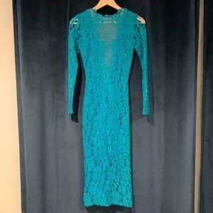 Turquoise Lace Bodycon Midi Dress